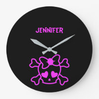 Pink girly emo skull with bow large clock
