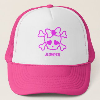 Pink girly emo skull with bow name girl trucker hat