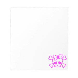 Pink girly emo skull with bow notepad