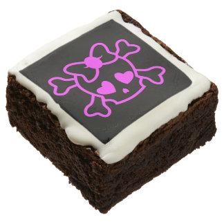 Pink girly emo skull with bow teenage girl black chocolate brownie