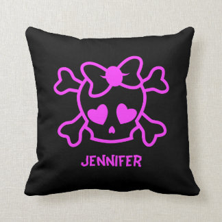 Pink girly emo skull with bow throw pillow
