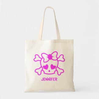 Pink girly emo skull with bow tote bag