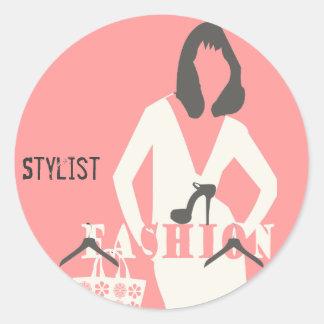 Pink Girly Fashion  Hair Stylist Stylish Classic Round Sticker