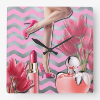 Pink Girly fashion Square Wall Clock