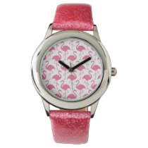 Pink Girly Flamingo Style Wrist Watch