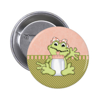 Pink Girly Frog Button