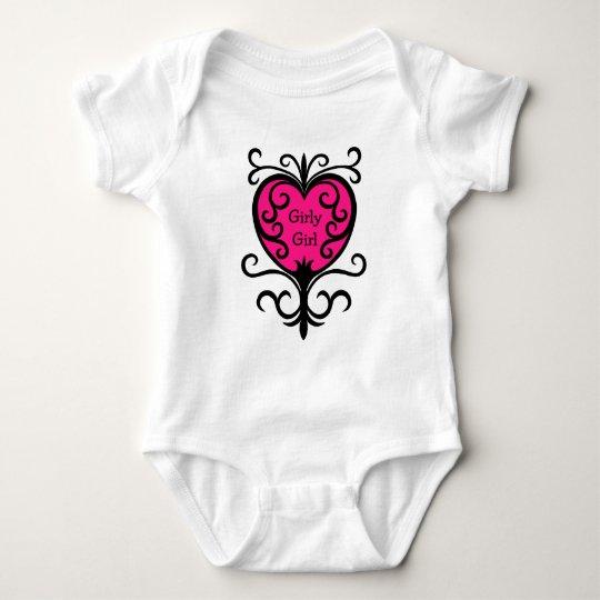 Pink girly girl baby bodysuit