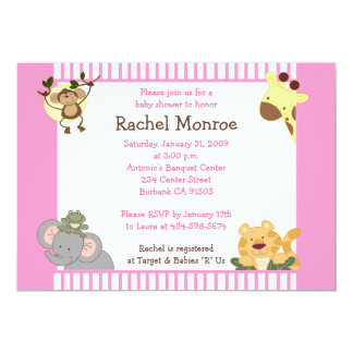 Pink Girly Jungle Safari Friends 5x7 Baby Shower Personalized Invitation