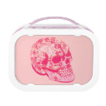 pink girly lacy sugar skull lunch box