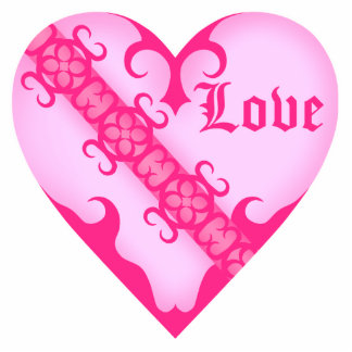 Pink girly medieval victorian romantic love heart cutout