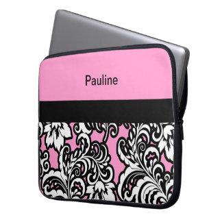 Pink Girly Monogram Laptop Case