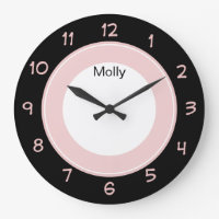 Pink Girly Monogram Large Clock