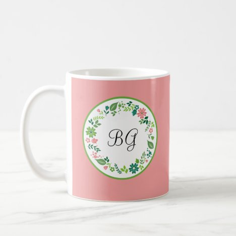 Pink Girly Monogram Style Coffee Mug