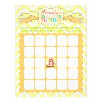 Pink Girly Owl - Baby Shower Bingo & Name Scramble Flyer
