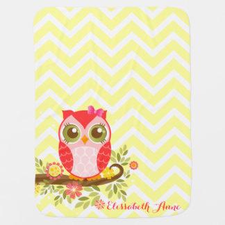 Pink Girly Owl - Custom Baby Blanket