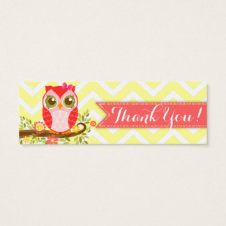 "Pink Girly Owl Custom Baby Shower ""Thank You"" Tag"