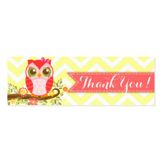 "Pink Girly Owl Custom Baby Shower ""Thank You"" Tag Mini Business Card"