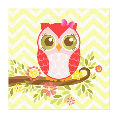 Pink Girly Owl - Stretched Canvas Wall Art Canvas Print