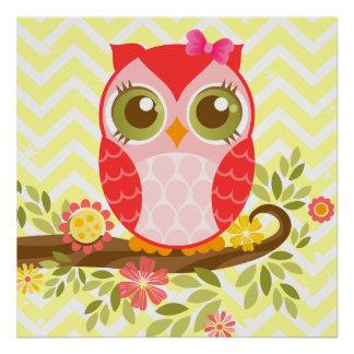 Pink Girly Owl Wall Poster