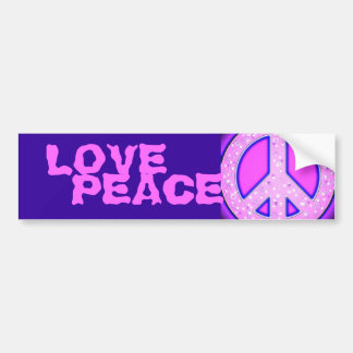 Pink Girly Peace Sign With Purple Neon Glow Car Bumper Sticker