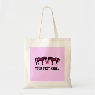 Pink Girly Personalized Horse Budget Tote Bag