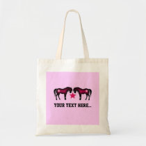 Pink Girly Personalized Horse Tote Bag