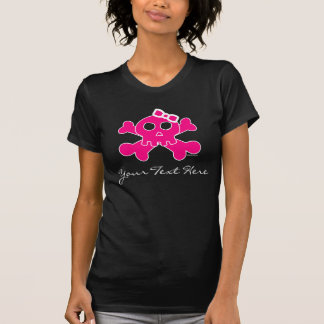 Pink Girly Pirate Skull with cute pink Ribbon T-Shirt