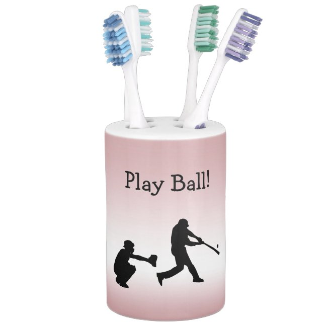 Pink Girly Play Ball Baseball Sports Bathroom Set