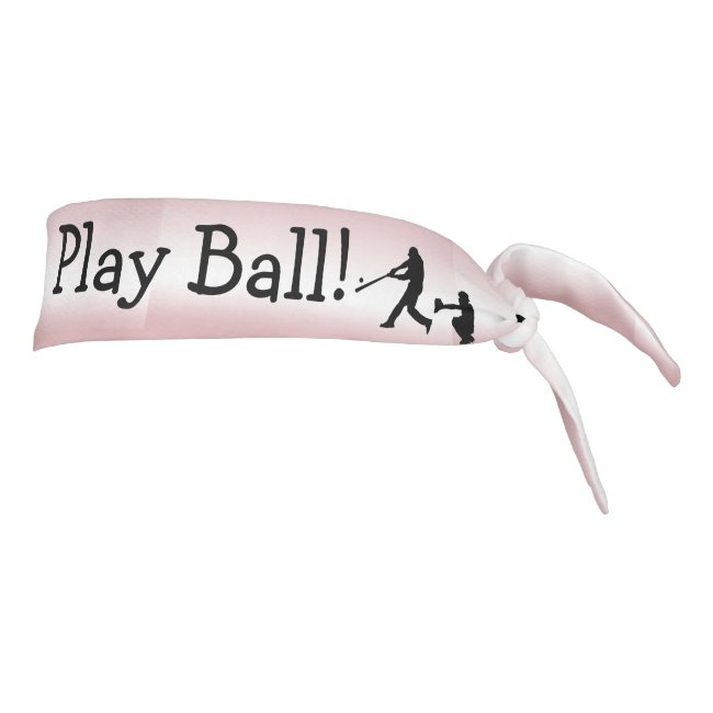 Pink Girly Play Ball Baseball Sports Tie Headband
