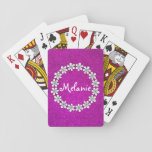"Pink girly playing cards with sparkly glitters<br><div class=""desc"">Pink girly playing cards with sparkly glitters and flowers. Cute glittery gift idea for girls. Make one with personalized kids name or monogram. Fun for children.</div>"