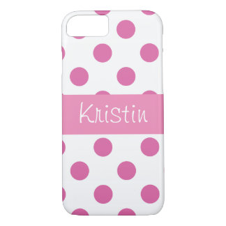 Pink girly Polka Dot iPhone 7 case