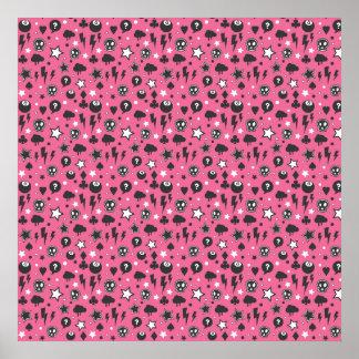 Pink Girly Punk Rock Pattern Poster