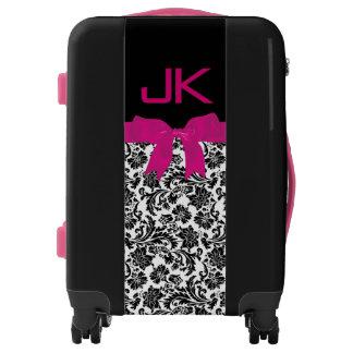 Pink Girly Ribbon Black & White Damasks Luggage