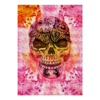 pink girly skull on houndstooth background print