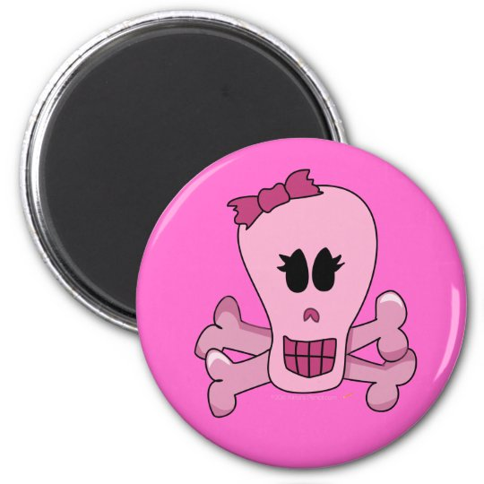 Pink Girly Skull with Bow Halloween or Pirate 2 Inch Round Magnet