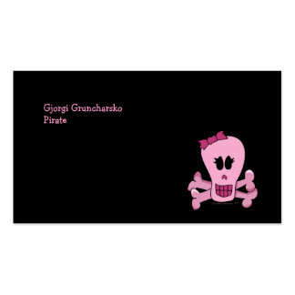 Pink Girly Skull with Bow Halloween or Pirate Double-Sided Standard Business Cards (Pack Of 100)