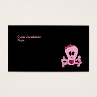 Pink Girly Skull with Bow Halloween or Pirate Business Card