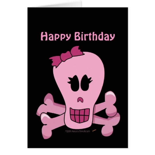 Pink Girly Skull with Bow Halloween or Pirate Card