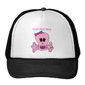 Pink Girly Skull with Bow Halloween or Pirate Trucker Hat