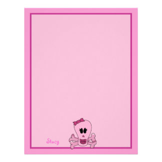 Pink Girly Skull with Bow Halloween or Pirate Letterhead