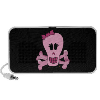 Pink Girly Skull with Bow Halloween or Pirate Portable Speaker