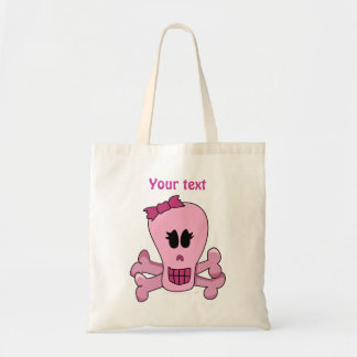 Pink Girly Skull with Bow Halloween Tote Template