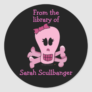 Pink Girly Skull with Bow Personalized Bookplates Classic Round Sticker
