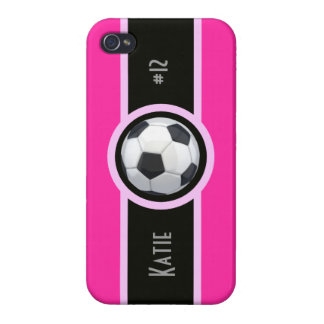 Pink Girly Soccer Personalized Iphone  4 Case Covers For iPhone 4