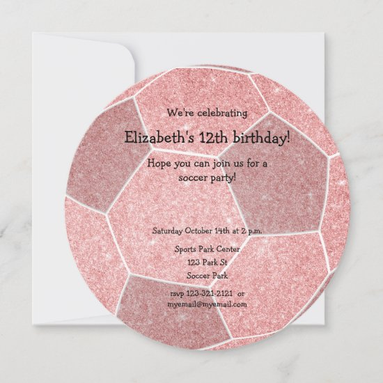 pink girly soccer themed birthday party announcement