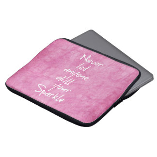 Pink Girly Sparkle Quote Laptop Computer Sleeve