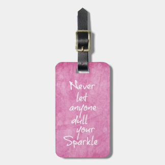 Pink Girly Sparkle Quote Tag For Luggage
