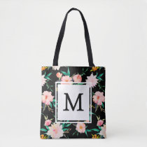 Pink Girly Trendy Black White Floral Watercolor Tote Bag