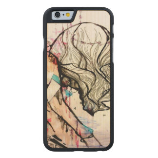 Pink girly watercolor and ink girl pop surreal art carved® maple iPhone 6 case
