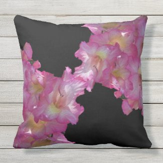 Pink Gladiolus Floral Grapic Outdoor Pillow